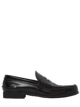 BRUSHED LEATHER PENNY LOAFERS