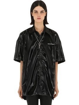 FAUX PATENT SHORT SLEEVE SHIRT