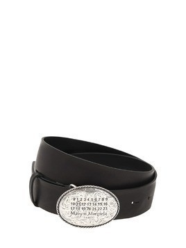 ENGRAVED LOGO LEATHER BELT