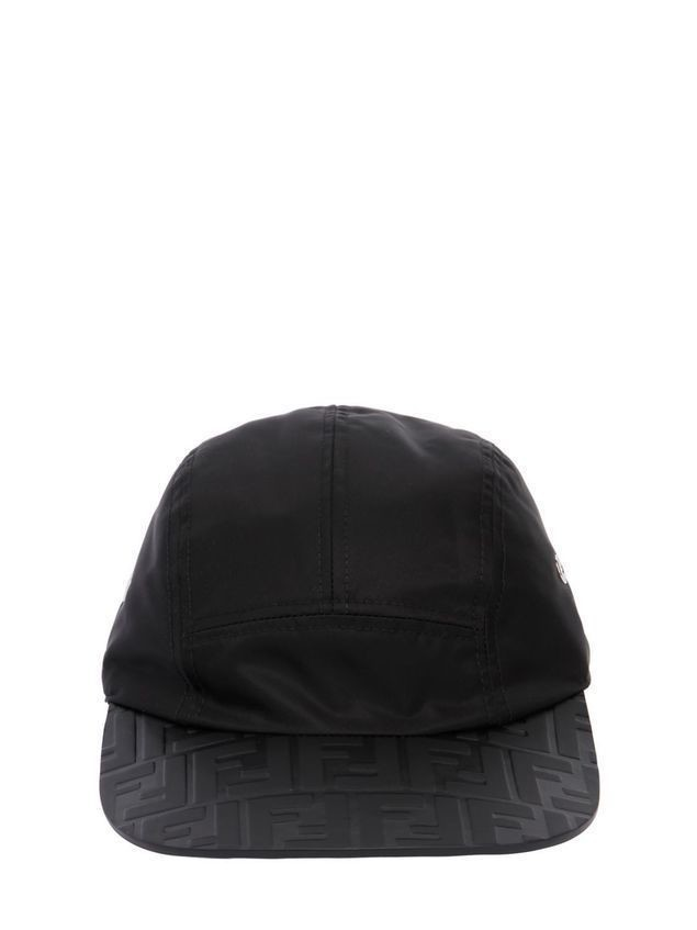 LOGO EMBOSSED LEATHER&NYLON HAT