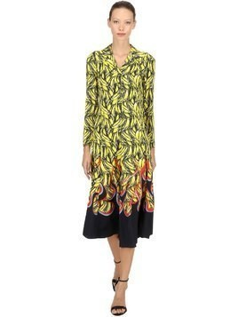 BANANA FLAMES PRINT TWILL LONG DRESS