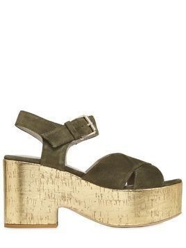 90MM SUEDE CORK PLATFORM WEDGES