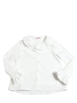 COTTON POPLIN SHIRT W/ RUFFLES