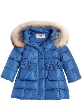 NYLON DOWN COAT WI/ FUR TRIM