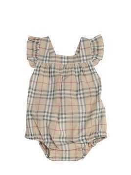 WOVEN CHECK COTTON BODYSUIT