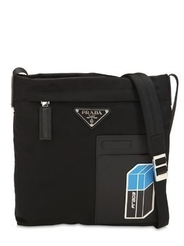 NYLON CROSSBODY BAG W/ LEATHER PATCH
