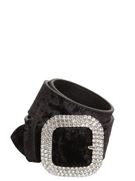 CRYSTAL BUCKLE HIGH WAIST VELVET BELT