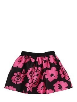 FLOWERS PRINTED TWILL SKIRT