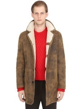 VINTAGE EFFECT SHEARLING COAT