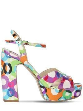 125MM PRINTED PATENT LEATHER SANDALS