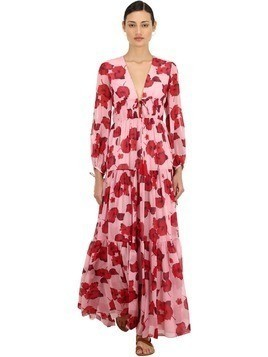 FLORAL PRINT SILK GEORGETTE MAXI DRESS