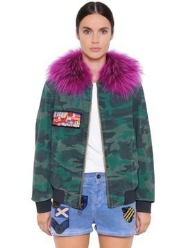 CAMO COTTON BOMBER W/ MURMASKY FUR