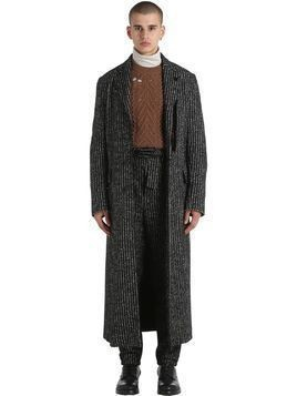 EXTRA LONG STRIPED WOOL&ALPACA COAT