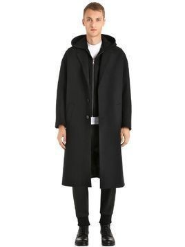 WOOL CLOTH COAT W/ HOODED NEOPRENE VEST