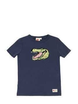 CROCODILE PRINT COTTON JERSEY T-SHIRT