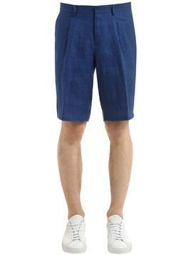 WASHED LINEN BERMUDA SHORTS