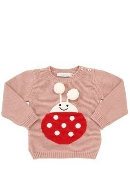 LADYBUG INTARSIA COTTON TRICOT SWEATER
