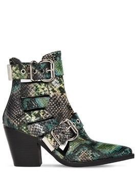 75MM GUADALUPE SNAKE PRINT LEATHER BOOTS