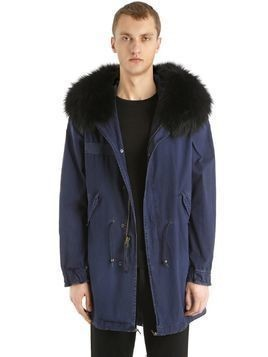 COTTON CANVAS PARKA W/ FUR TRIM