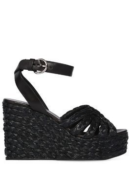 105MM WOVEN SATIN & LEATHER WEDGES