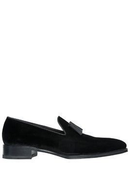 COTTON VELVET LOAFERS W/ GROSGRAIN BOW