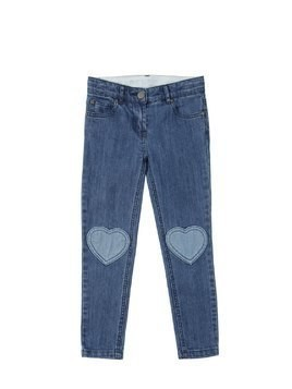 HEART PATCHES STRETCH DENIM JEANS