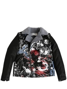 PRINTED NYLON & FAUX SHEARLING JACKET
