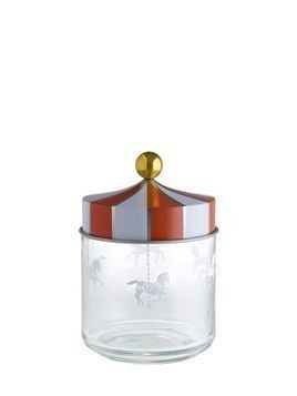 CIRCUS MEDIUM GLASS CONTAINER WITH LID