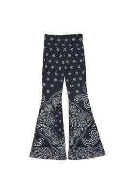 BANDANA PRINT FLARED STRETCH PANTS