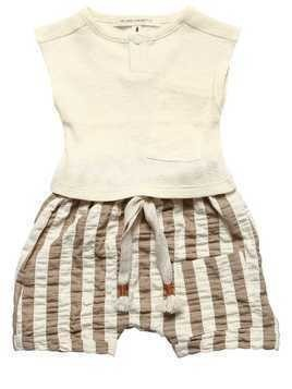 RIBBED COTTON TOP & STRIPED SHORTS