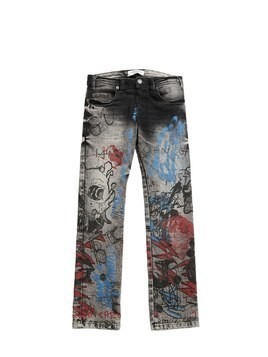 PRINTED STRETCH DENIM JEANS