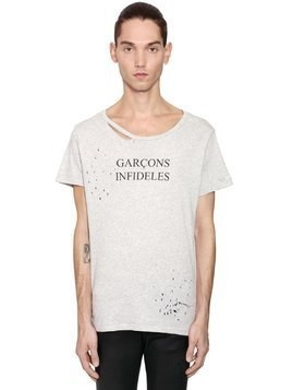 LOGO PRINTED DISTRESSED JERSEY T-SHIRT