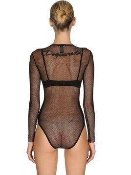 BACK LOGO STRETCH SHEER TULLE BODYSUIT