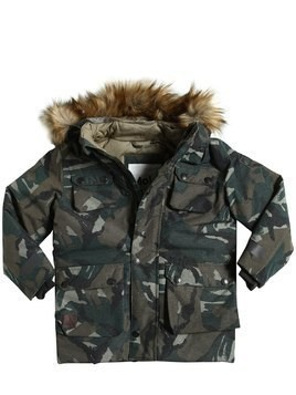 HOODED CAMO PRINT NYLON SKI JACKET