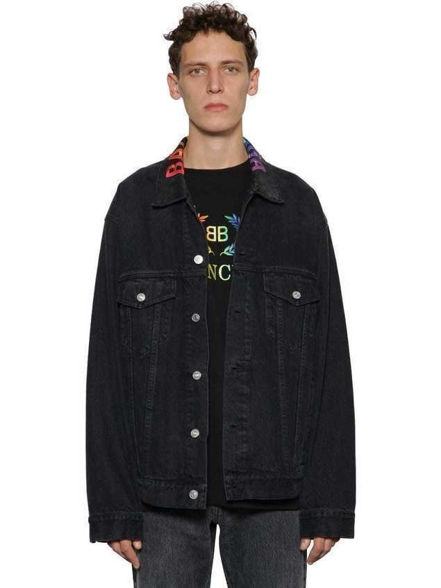 RAINBOW LOGO EMBROIDERED DENIM JACKET