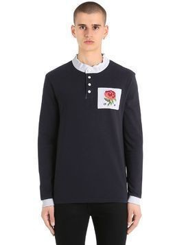 ROSE PATCH MANDARIN COLLAR T-SHIRT