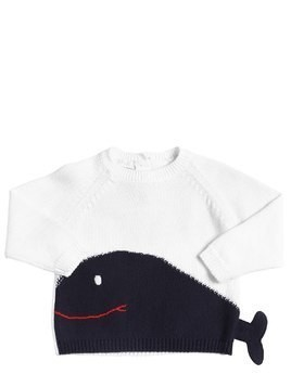 WHALE INTARSIA COTTON TRICOT SWEATER