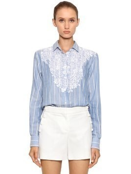 STRIPED COTTON POPLIN SHIRT W/ LACE