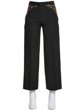 COOL WOOL PANTS W/ LACE-UP CHAINS