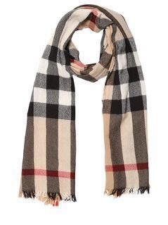 CHECK WOOL&CASHMERE KNIT SCARF