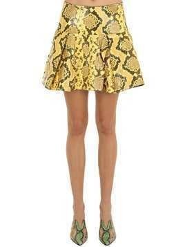 PLEATED SNAKE PRINT LEATHER MINI SKIRT