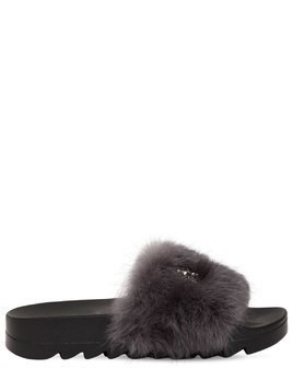 20MM STARS LAPIN FUR SLIDE SANDALS