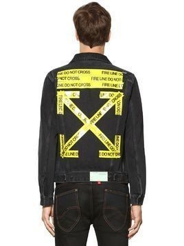 SLIM FIT FIRE LINE TAPE DENIM JACKET