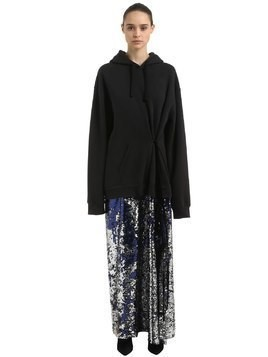 HOODED SWEATSHIRT & SEQUIN DRESS