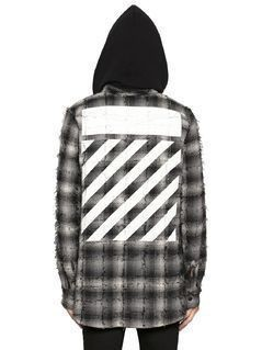 PLAID FLANNEL HOODED SHIRT W/ STRIPES