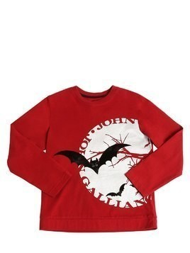 FLOCKED BATS COTTON JERSEY T-SHIRT