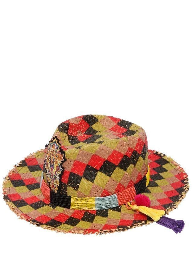 CHECKED STRAW HAT W/ BEADED HATBAND