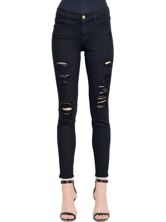 LE COLOR RIPPED SKINNY DENIM JEANS