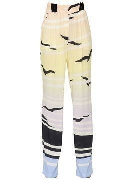 PRINTED FLUID VISCOSE PINPOINT PANTS