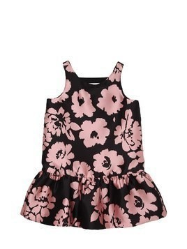 FLOWERS PRINTED TWILL PARTY DRESS